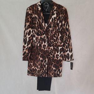 John Meyer Stretch Crepe Leopard Print Pant Suit